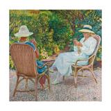 Maria und Elisabeth van Rysselberghe beim Stricken im Garten Um 1912