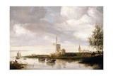 A River Landscape with Barges and Sailboats and a Church beyond