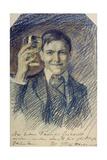 Selbstbildnis mit Weinglas 1905