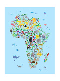 Animal Map of Africa for children and kids