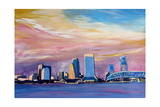 Jacksonville Florida Skyline With Bridge At Sunset