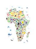 Animal Map of Africa for children and kids Papier Photo par Michael Tompsett