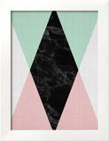 Geometric Pink Mint Reproduction encadrée par LILA X LOLA