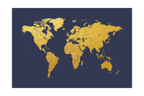 World Map Gold Foil