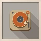 Retro Record Player Icons Reproduction encadrée par YasnaTen