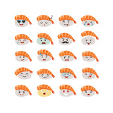 Sashimi Emoji Vector Set Emoji Sushi with Faces Icons Sushi Roll Funny Stickers Food Cartoon Sty