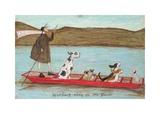 Woofing Along on the River Reproduction d'art par Sam Toft