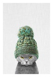 Kitten Wearing a Hat Reproduction d'art par Tai Prints
