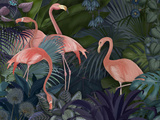 Flamingos in Blue Garden