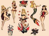 Mermaids and Dancers  Authentic Mid-Century Tattoo Flash by Norman Collins  aka  Sailor Jerry