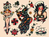 US Navy and Sailor Tattoos  Authentic Vintage Tatooo Flash by Norman Collins  aka  Sailor Jerry