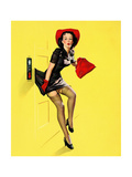 """""""Going Up"""" Retro Pin-Up Girl with Dress Caught in Elevator by Gil Elvgren"""