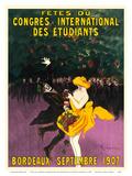 Celebrations of the International Student Congress - Bordeaux, France - September 1907 Reproduction d'art par Leonetto Cappiello