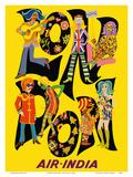 London England - Air India - The Beatles with Maharaja