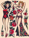 Two Beautiful Women  Authentic Vintage Tatooo Flash by Norman Collins  aka  Sailor Jerry