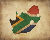 Map with Flag Overlay South Africa Reproduction d'art par Color Me Happy