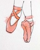 Ballet Shoes En Pointe Orange Watercolor Part II