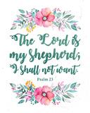 The Lord Is My Shepherd-Floral Reproduction d'art par Inspire Me