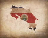 Map with Flag Overlay Costa Rica Reproduction d'art par Color Me Happy