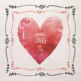 Watercolor Heart Jesus Loves Me