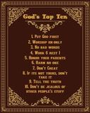 God's Top Ten Brown and Gold Design Reproduction d'art par Inspire Me