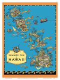 Summer Fun in Hawaii Map - Hawaii Tourist Bureau