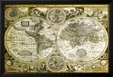 Carte du monde historique Poster en laminé encadré