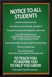 Notice to all Students Classroom Rules Poster Poster en laminé encadré