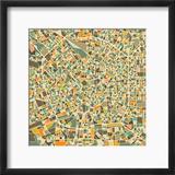 Milan Map Reproduction encadrée par Jazzberry Blue