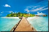 Summer Holidays Island Beach Art Poster Print