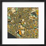 Melbourne Map Reproduction encadrée par Jazzberry Blue