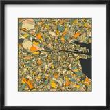 Dublin Map Reproduction encadrée par Jazzberry Blue