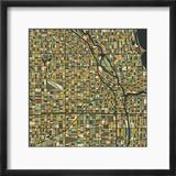 Chicago Map Reproduction encadrée par Jazzberry Blue
