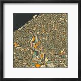 Cleveland Map Reproduction encadrée par Jazzberry Blue