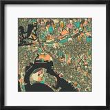 San Diego Map Reproduction encadrée par Jazzberry Blue
