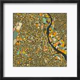 New Delhi Map Reproduction encadrée par Jazzberry Blue