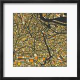 Amsterdam Map Reproduction encadrée par Jazzberry Blue