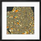 San Francisco Map Reproduction encadrée par Jazzberry Blue