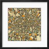Atlanta Map Reproduction encadrée par Jazzberry Blue