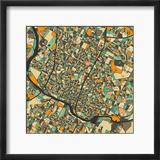 Austin Map Reproduction encadrée par Jazzberry Blue