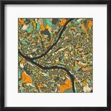 Pittsburgh Map Reproduction encadrée par Jazzberry Blue