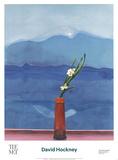 Mont Fuji et fleurs Reproduction d'art par David Hockney