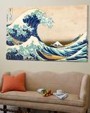 La grande vague de Kanagawa Toile Murale Géante par Katsushika Hokusai