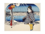 Moon After Snow at Rygoku from Series 3 Views of Snow at Famous Places in Eastern Capital  c1840