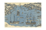 Bunkindo Print of Foreign Ships in the Port of Nagasaki  1800-50