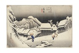 Evening Snow at Kanbara From the Series 53 Stations of the Tokaido  c1833-4