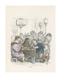 Un Cafe Reproductions de collection premium par Jean-Jacques Grandville