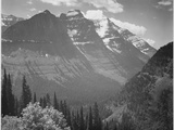 "Valley Snow Covered Mountains In Background ""In Glacier National Park"" Montana 1933-1942"