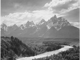 View From River Valley Towards Snow Covered Mts River In Fgnd  Grand Teton NP Wyoming 1933-1942