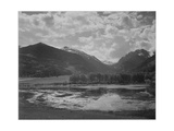 """Lake And Trees In Foreground Mt  Clouds In Background """"In Rocky Mt NP"""" Colorado 1933-1942"""